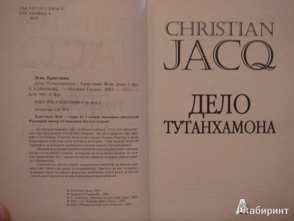 Иллюстрация 2 из 5 для Дело Тутанхамона - Кристиан Жак | Лабиринт - книги. Источник: Гунякова  Анна